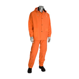 PIP Orange Corduroy Collar Rain Jacket & Bib Overalls - High visibility orange rain coat and pants with drawstring hood and pockets.