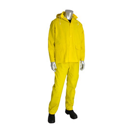 PIP Yellow Cape Vented Back Rain Jacket & Bib Overalls - Bright yellow rain coat with overall rain pants, drawstring hood, and front pockets.