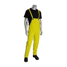 PIP Yellow PVC Rain Bib Overalls with Snap Adjustments - Bright yellow overall cover rain pants with yellow shoulder straps.