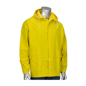 PIP Yellow PYV/Poly Hooded & Adjustable Snaps Rain Jacket - Bright yellow buttoned rain jacket with drawstring hood and pockets.