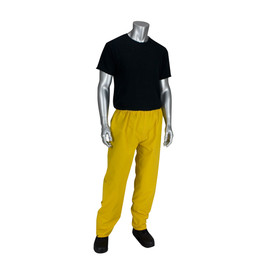 PIP Yellow PVC/Poly Adjustable Snaps Rain Pants - Bright yellow adjustable rain pants with elastic snap waist.