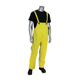 PIP Yellow Ribbed PVC Welded Seams Rain Bib Overall - Bright yellow overall cover pants with yellow shoulder straps.