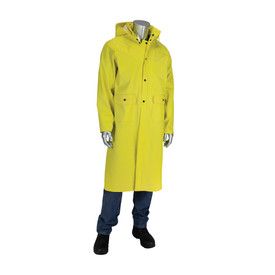 PIP Ribbed Yellow Double Storm Flap 48 Inch Rain Coat - Bright yellow long rain coat with buttoned storm flap, drawstring hood, and pockets.