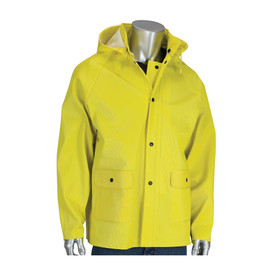 PIP Ribbed Yellow Double Storm Flap Hooded Rain Jacket - Bright yellow rain jacket with front buttons, drawstring hood, and pockets.