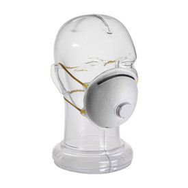 PIP Disposable Dust Cone Face Exhalation Valve Respirator - White disposable valve respirator safety mask with dual yellow elastic straps.