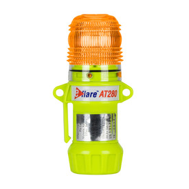 E-Flare Hi-Viz Flashing & Steady On Bright Emergency Beacons - Portable clip on bright high visibility yellow safety flashing beacon with red light on.