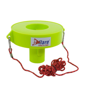 E-Flare Hi-Viz Lime Emergency Beacon Marine Flotation Collar - Portable marine flotation beacon with attached red rope, shown without beacon.