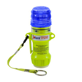 E-Flare Railroad Compact Emergency Magnetic Base Beacon - Portable high visibility yellow body emergency blue beacon with ring strap.