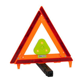 E-Flare Traffic Safety Triangle Red Emergency Beacon - High visibility orange and red road emergency safety triangle.