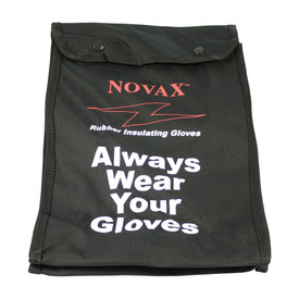 """PIP Novax Rubber Gloves Protective Bag - Black buttoned glove pouch with text """"Always Wear Your Gloves"""" and the words """"Novax - Rubber Insulating Gloves""""."""