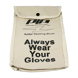"""PIP Canvas Rubber Gloves Protective Bag - Light tan buttoned glove pouch with text """"Always Wear Your Gloves"""" and the words """"Novax - Rubber Insulating Gloves""""."""