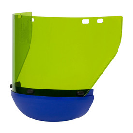 PIP CAT 2 Replacement Arc Shield with Chin Strap - Yellow safety face shield with blue bottom brim, attachable to hard hats.