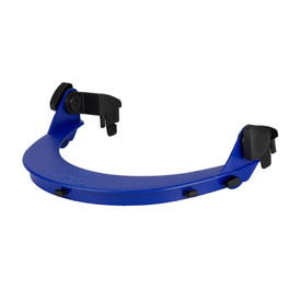 PIP Arc Shield Hard Hat Adapters Made in USA - Close up of top blue brim of safety face shields with attachment clips to hard hat.