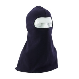 PIP Flame Resistant CAT 2 Ultrasoft Single Layer Balaclava - Full shoulder coverage navy blue half face head cover balaclava.
