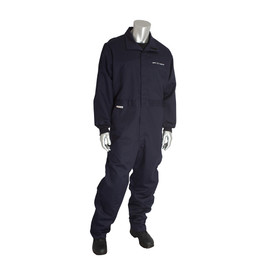 PIP FR 9oz CAT 2 Navy Storm Guard Welding Coverall - Navy blue collared coverall suit with elastic fabric wrists and loose ankles.