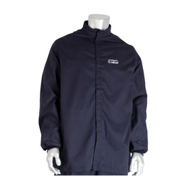 PIP Flame Resistant 9oz CAT 2 Navy Utility Jacket - Close up of navy blue collarless coverall suit with front zipper and elastic fabric wrists.