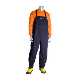 PIP FR Ultrasoft 9oz CAT 2 Navy Electrical Overall - Navy blue overall cover pants with black shoulder strap clips.