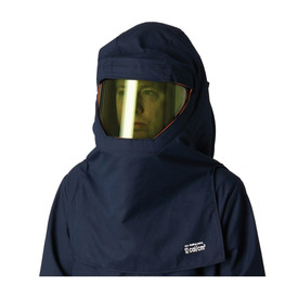PIP Flame Resistant CAT 2 Ultrasoft Arc Hood & Hard Hat - Navy blue coverall top and head cover on top of high visibility safety face shield.