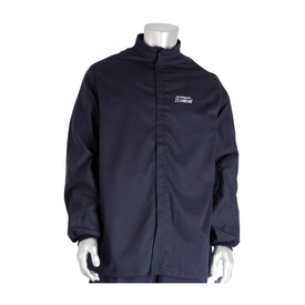 PIP FR CAT 3 Ultrasoft Navy Electrical Jacket - Navy blue front hook and loop closure coverall jacket with elastic wrists.