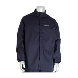 PIP Ultrasoft CAT 3 Flame Resistant Navy Jacket - Navy blue front hook and loop closure coverall jacket with elastic wrists.