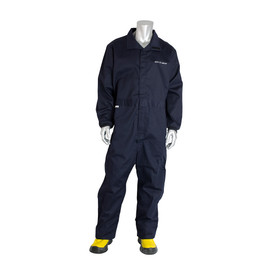 PIP FR CAT 3 Navy 2 Side Pockets Welding Coverall - Navy blue collared coverall suit with elastic wrists and hook and loop closure.