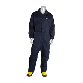 PIP Westex Ultrasoft CAT 3 Navy Elasticized Waist Coverall - Navy blue collared coverall suit with elastic wrists and hook and loop closure.