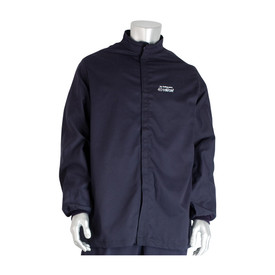 PIP Westex Ultrasoft CAT 4 / HRC 4 FR Electrical Navy Jacket - Navy blue front hook and loop closure coverall jacket with elastic wrists.