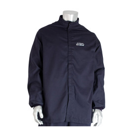 PIP CAT 4 Flame Resistant Electrical 100 Cal Jacket - Navy blue front hook and loop closure coverall jacket with elastic wrists.