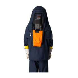 PIP FR 40 Cal CAT 4 Covered Power Unit Ventilated Arc Hood - Orange Velcro flap containing power ventilation unit for arc safety hood.