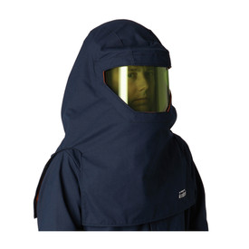 PIP FT 40 Cal CAT 4 Lightweight Navy Multi-Layer Arc Hood - Navy blue coverall top and head cover on top of high visibility safety face shield.