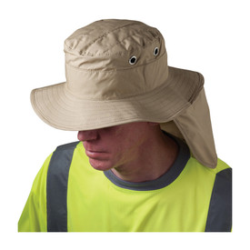 PIP Cooling Khaki Range Hat & Neck Shade - Cooling shade khaki ranger style hat with back neck shade flap, shown on model.