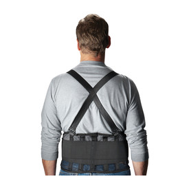 PIP Black 9 Inch Mesh Back Support Belt - Black mesh support belt with cross shoulder straps, back view.