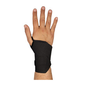 PIP Lightweight Elastic Hook & Loop Wrist & Thumb Support - Black stretchable elastic hook and loop wrist and thumb support band.
