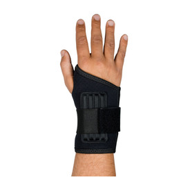 PIP Terry Lined Hook Loop 2 Inch Wrist Support - Black stretchable wide elastic hook and loop wrist and thumb support band.