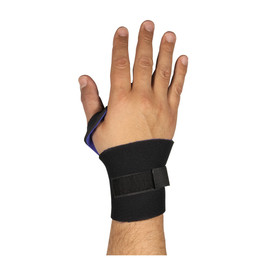 PIP Lightweight Open Palm Punched Thumb Wrist Support - Black and blue stretchable wide hook and loop wrist and thumb support band.