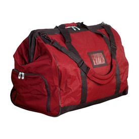 PIP Metal Top Should Strap Gear Bag - Heavy duty red duffle bag with main front and side zipper pockets and long shoulder strap.