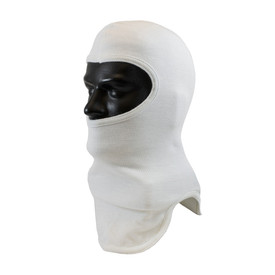 Flame Resistant Nomex Protective Double Layer Full Face Hood - White head cover with half face opening and full long neck coverage.
