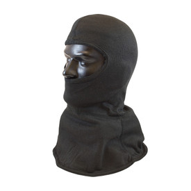 PIP Carbon Fire Resistant Protective Black Full Face Hood - Black full head safety cover with half face opening and full neck coverage.