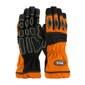AutoX Kevlar Sewn Orange Fire Extrication Non Slip Gloves - Orange and black palm grip safety work gloves with wrist coverage.