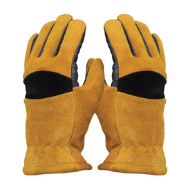 PIP Smokescreen Cowhide Structural Firefighting Glove - Cowhide heavy duty tan, gray and black safety fire gloves.