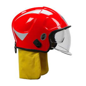 Pacific F10 MKV DuPont Kevlar Shell Jet Fire Helmet - Bright red safety work helmet with back yellow comfort flap and clear face shield.