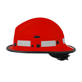 Pacific BR5 Kevlar Goggle Mount Ratchet Brush Fire Helmet - Bright red safety work fire helmet with black brim and reflective strips.