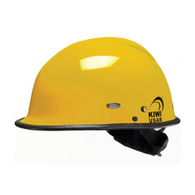 Pacific R3V4 KIWI Goggle Mounts & Eye Shield Rescue Helmet - Bright yellow safety work hard helmet with goggle mounts, eye shield, and black brim.