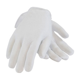PIP Light Premium Unhemmed Men's Cotton Inspection Glove - White unhemmed men's inspection work glove with loose wrist.