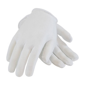 PIP Light Premium Unhemmed Women's Cotton Inspection Glove - White unhemmed women's inspection work glove with short loose wrist.