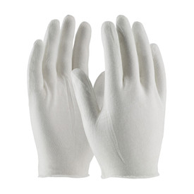 PIP Economy Light Unhemmed Cotton Lisle Inspection Glove - Pair of two white safety inspection work gloves at wrist length.
