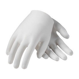 PIP Mid-Weight Cotton Lisle Unhemmed Men's Inspection Glove - Pair of two white safety inspection work gloves with loose wrists.