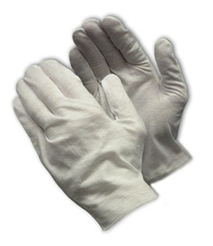 PIP Mid-Weight Cotton Lisle Unhemmed Women's Inspection Glove - Pair of two white safety inspection work gloves.