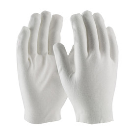 PIP Heavy-Weight Cotton Unhemmed Men's Inspection Glove - Pair of two white safety inspection work gloves, shown upright.