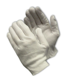 PIP Heavy-Weight Cotton Unhemmed Women's Inspection Glove - Pair of two white safety inspection work gloves.